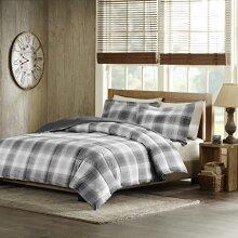 Woolrich Plaid Bed Comforter Set Ultra Soft Microfiber 3 Pieces Bedding Sets - Bedroom Comforters, Full/Queen, Grey