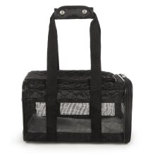 Original Deluxe Airline Approved Pet Carrier, Soft Liner, Mesh Windows, Spring Frame, Black Lattice Stitching, Small Small (Pack of 1) Black Lattice