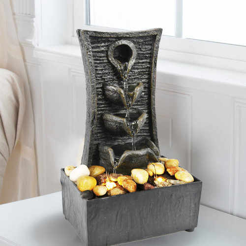 (Tiers Fountain) LED Indoor Freestanding Tabletop Polyresin Water Fountains