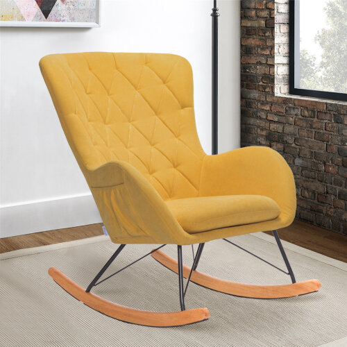 (Yellow) Wing Back Rocking Chair Recliner Relax Armchair