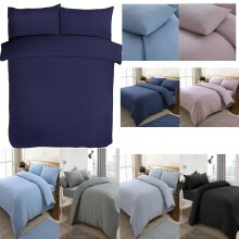 Jersey Melange Plain Yarn Dyed Colored Duvet Quilt Cover Bed Set & Pillowcases