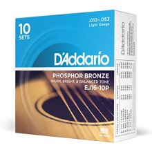 D'Addario EJ16-10P Phosphor Bronze Light (.012-.053) Acoustic Guitar Strings 10-Pack