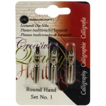 Manuscript Calligraphy Pen Nibs - Carded 3/Pkg-Round Hand - 1, 2 & 3