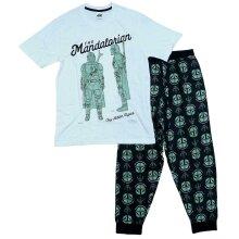 Mens Disney Star Wars The Mandalorian White Pyjama