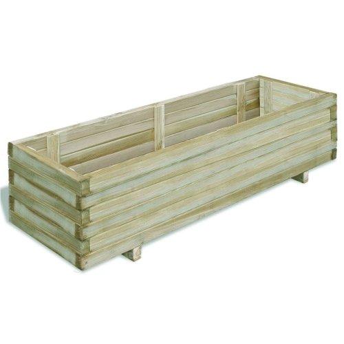 Rectangular Wooden Planter 120x40x30cm Garden Flower Pot Bed Basket