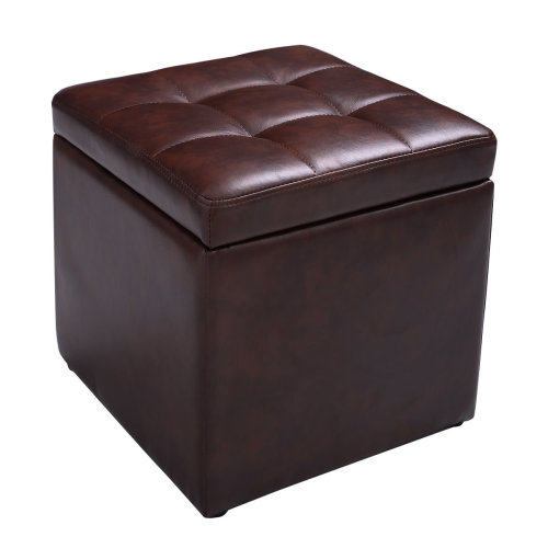 Faux Leather Ottoman Pouffe Storage Toy Box Foot Stools Bench Seat