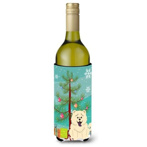 Merry Christmas Tree Chow Chow White Wine Bottle Beverge Insulator Hugger
