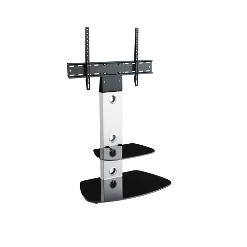King Cantilever TV Stand with Brackets, Silver, Rounded Base, TVs up to 60""