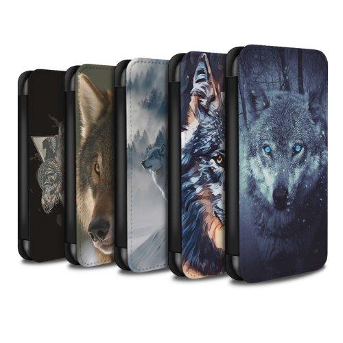 Wild Animal Predator Wolf Samsung Galaxy J5 2017/J530 Phone Case Wallet Flip Faux PU Leather Cover for Samsung Galaxy J5 2017/J530