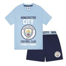 Manchester City FC Official Football Gift Boys Short Pyjamas