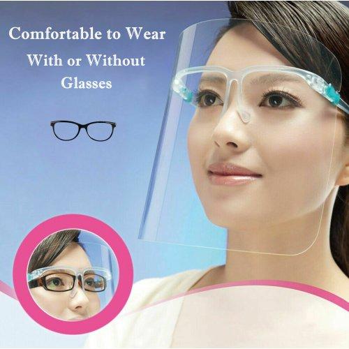 (20 Face Shields) Face Shield Full Cover Reusable HD Clear Visor