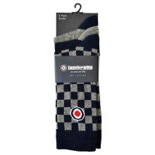 Lambretta 3 Pack Sock Check - Blue/Grey