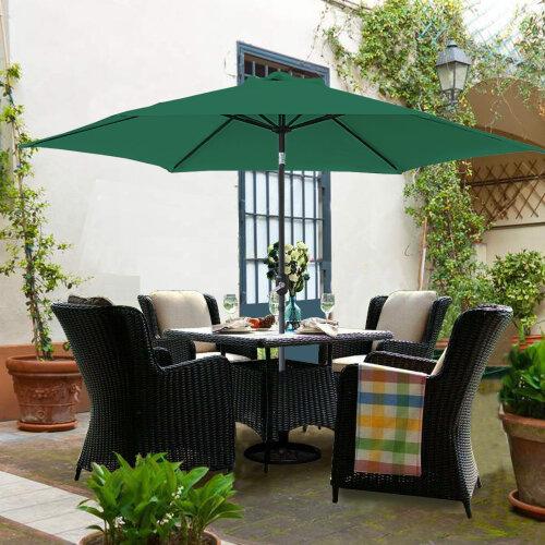 3M Round Garden Parasol Outdoor Patio Sun Shade Umbrella with Tilt Crank Green