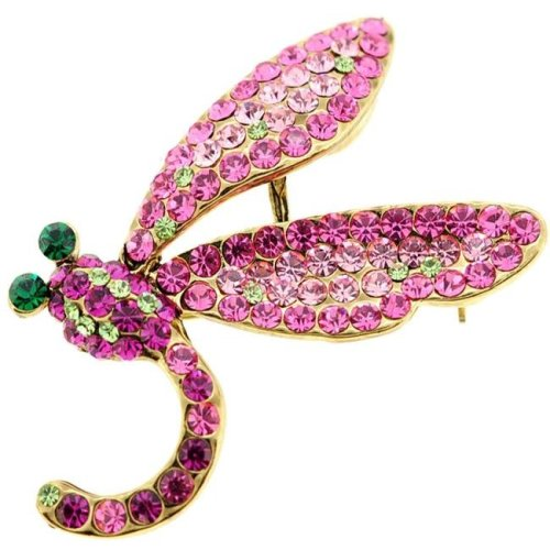 Fantasyard Pink Dragonfly Crystal Pin Brooch