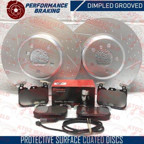 FOR BMW 435d FRONT DIMPLED GROOVED BRAKE DISCS BREMBO PADS SENSOR 370mm
