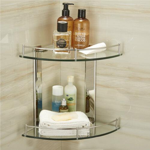 Bathroom Corner Shelf Shelve Glass Shower Wall Mounted Storage Caddy