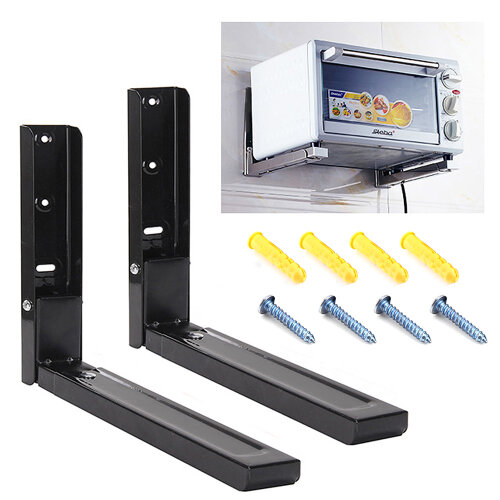 2x Black Microwave Wall Holder Brackets With Extendable Arms 40kg load