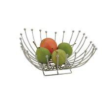 Chrome Metal Square Shape Fruit Basket Table Decoration 30Cm