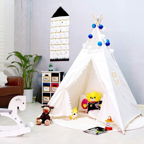 (Lace White) Kids Teepee Play Tent Cotton Canvas Indian Tipi