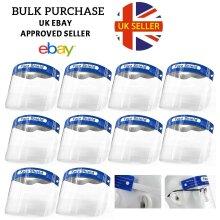 10pk Blue Transparent Protective Face Shields   Anti-Fog PPE Visors