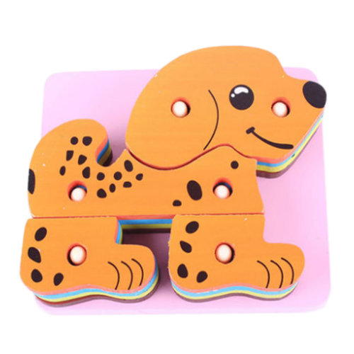 4 Dogs Block Toddler 4 pieces of Pegged Puzzle Early Education 10*14CM