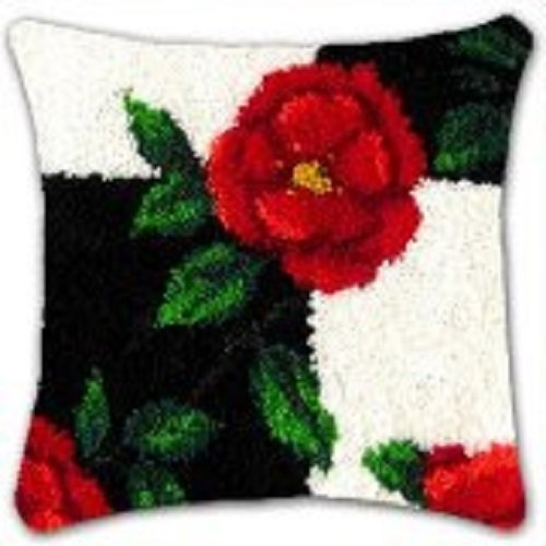 """Cushion Cover Kit""""Red Rose on Black and White background"""" 43x43cm"""