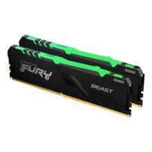Kingston Fury Beast RGB 16GB Kit (2 x 8GB), DDR4, 3200MHz (PC4-25600), CL16, DIMM Memory