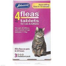 Johnson's 4 fleas 4 Flea Tablets Cat Kitten 3 Treatment Pack