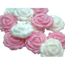 12 Glittered Mix Coloured Roses Cupcake Cake Toppers