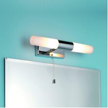 CGC Chrome Straight Over Mirror Cabinet Picture Wall Light Opal Cylinder Diffuser Pull Cord Switch Bathroom Bedroom Lounge Dining Room Kitchen