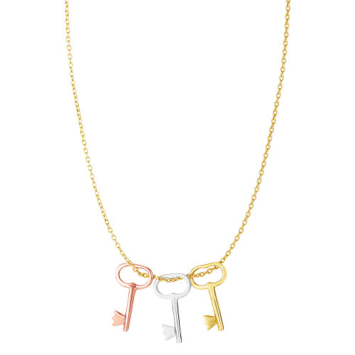14k Tri-Color Rose Yellow White Gold Layer on 925 Silver Heart Y Shape Necklace