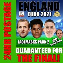 ENGLAND EURO 2021 FACE MASK PACK 2 KANE, RASHFORD, FODEN, SOUTHGATE