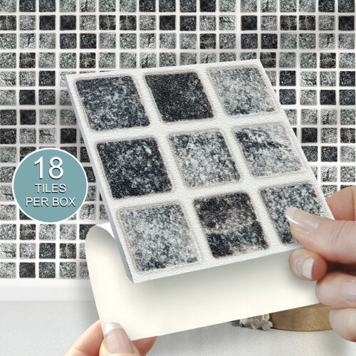 18 GRANITE MOSAIC Solid Stick On Self Adhesive Wall Tile Stickers 4x4