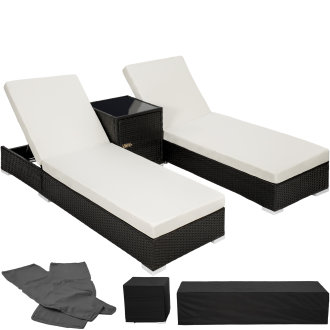 2 sunloungers + table with protective cover rattan aluminium -