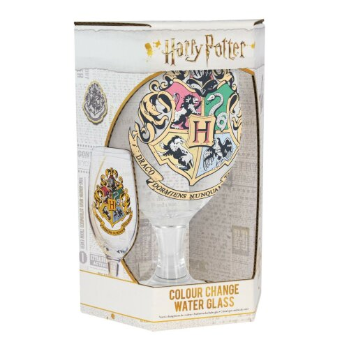 Hogwarts Crest Colour Change Drinking Glass Cold Water Harry Potter Gift