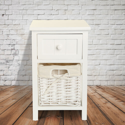 Wooden Bedside Tables Chic White Drawers & Wicker Basket Cabinet