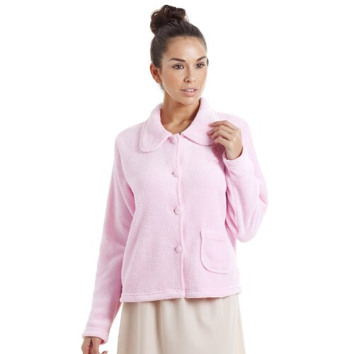 Camille Womens Pink Soft Fleece Bed Jacket