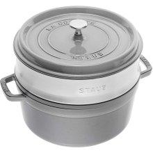 STAUB Cocotte with steamer Round 26cm Graphite grey