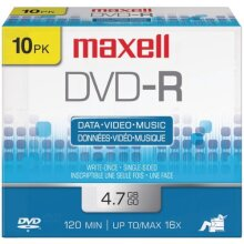 MAXELL MAXELL 4.7 GB 16X DVD-R 10 Pack Supplies & Media Media/Cleaning CARTR