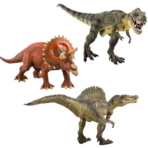 Set of 3 Large Dinosaur Figures (T-Rex Triceratops and Spinosaurus)