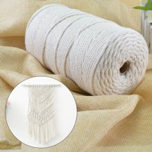 3MM Natural Beige Cotton Twisted Cord Craft Macrame Artisan String