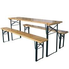 Marko Outdoor Wooden Folding Beer Table Bench Garden Furniture Set Steel Trestle Legs