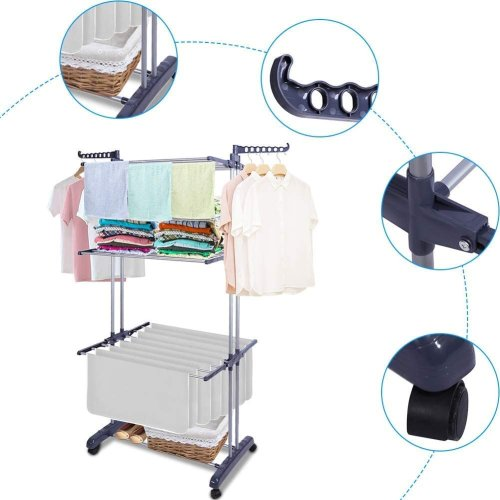 Folding Clothes Airer Horse 3 Tier Rolling Casters Drying Rack Hanging Garment