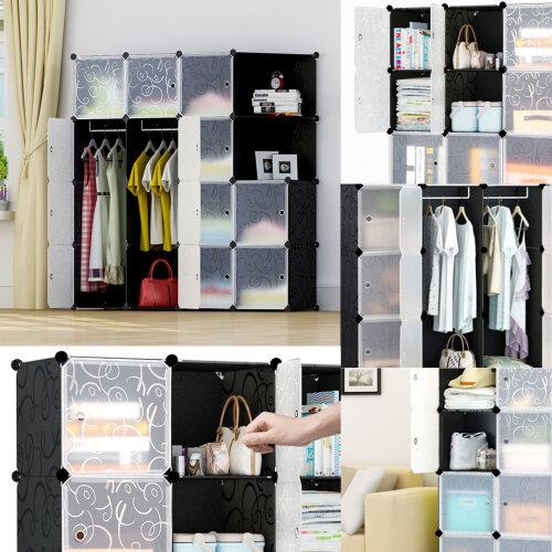 DIY 16-Cube Plastic Wardrobe Closet Cabinet Organizer Storage UK
