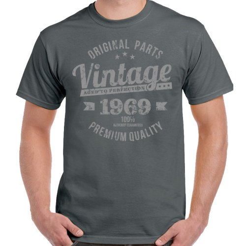 GILDAN HEAVY COTTON VINTAGE ANY YEAR AGED TO PERFECTION T SHIRT  SIZES S XXL