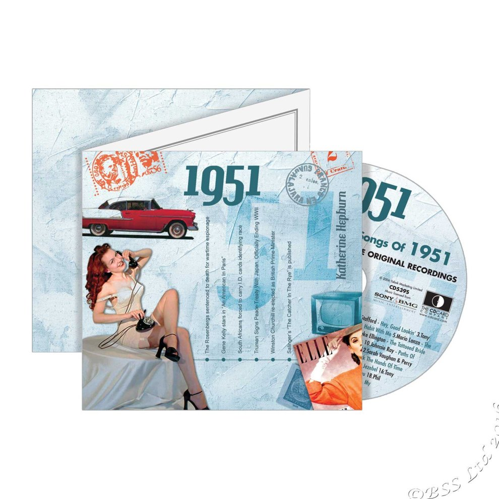 69th Anniversary or Birthday gift ~ Hit Music CD from 1951 /& Greeting Card