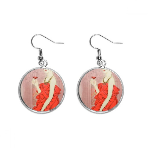Red Dress Beauty Chinese Painting Ear Dangle Silver Drop Earring Jewelry Woman