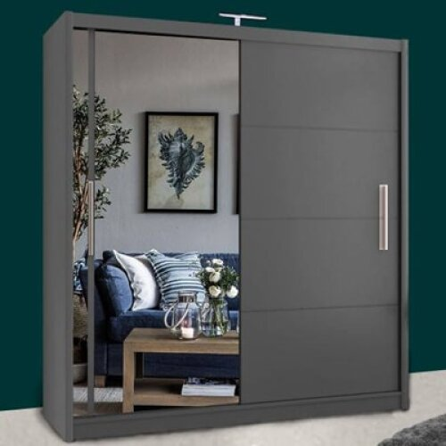 (Grey, 203cm) Modern Vision Sliding Door Mirror Wardrobe