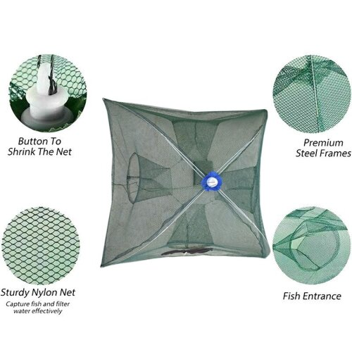Portable folding fishing net bait trap crabs, shrimps and fish
