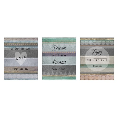Set of 3 Positive Typography Wall Plaques, MDF - Multi-Coloured